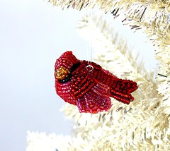Cardinal Bird Christmas Ornament (Meredith Dada) Tags: bird cardinal christmasornament holidaydecor intricatebeadwork birdfigurine redcardinalbird