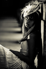 Between lights and shadows (Alexandre Moreau | Photography) Tags: portrait blackandwhite bw woman paris france beauty female model corridor posing sensual weddingdress palaisroyal buren frenchgirl lightpattern strobist weddinghat sb900 nikon80mmf14 nikond7000 80mmf14g