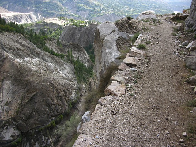 Path on the edge of a 400m drop.  On the way to Ultar base camp.