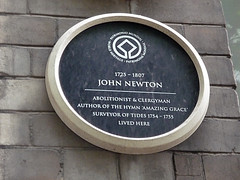 Photo of John Newton black plaque