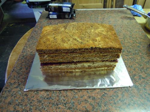 Layered marble cake