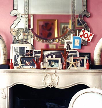 pink snapshots on mantel