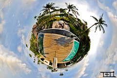 Morabito Art Villa Canope - mini planet 2 - Teo Morabito (Teo Morabito) Tags: bali art pool clouds swimming photoshop miniature earth teo mini villa planet curved morabito