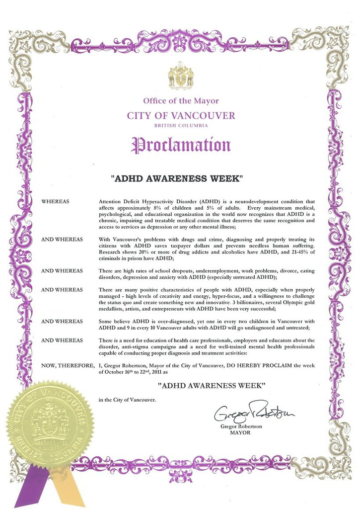 Vancouver City Council ADHD Awareness Week Proclamation October 16th to 22nd 2011