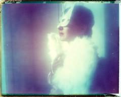 lady birdie (marion (milky soldier)) Tags: portrait bird polaroid glow mask 669 600se mariek