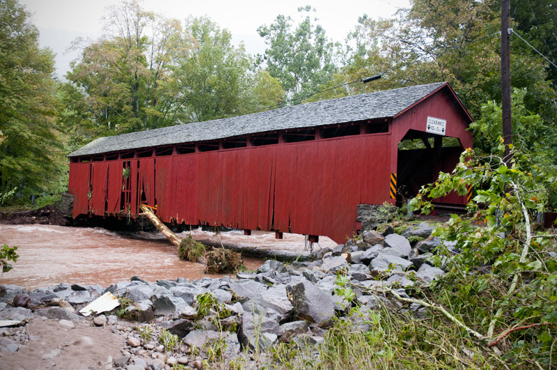 Sonestown Covered Bridge after the worst of the flooding.  Major damage but lucky to still be standing. Just upstream was small pickup truck wedged on a tree.  Imagine if it would have made it 100 yards more down to the bridge.