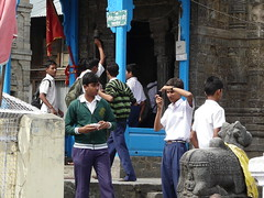 School kids at the temple
