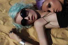 Katya (sashalarina) Tags: girls portrait beach girl sunglasses fashion sand blond bodymod bluehair bodymodification brukva brukvacom