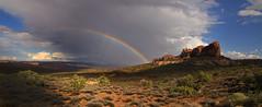 Desert Rainbow (BHagen) Tags: park cloud storm west nature rain clouds outdoors utah rainbow nikon desert wind hiking sunny arches climbing national western moab archesnationalpark d90 erotion