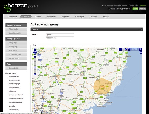Horizon map group - geo segmentation around Ipswich