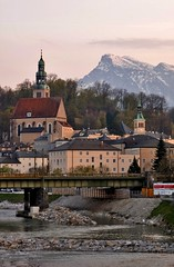 Nice Evening In Salzburg (Serge Freeman) Tags: city bridge mountain salzburg buildings river austria evening spring towers