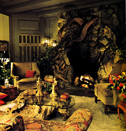 Jean Arthur's indoor grotto-like fireplace