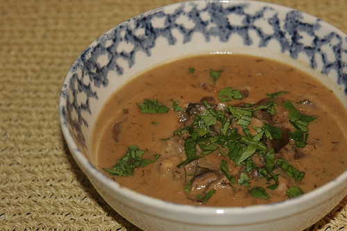Hungarian mushroom soup with fresh herbs.  Try our healthy version of this comfort food to celebrate National Mushroom Month.  Photo by L.H. Admina.