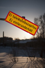 No winter maintenance (Throwing Dices Photography) Tags: winter sign 35mm nikon sb600 sunny cls vanhankaupunginkoski speedlite koski nikond90 nikkorafs35mmf18