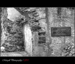 Via del castello - HDR - Jupiter 200mm f4 m42 (Margall photography) Tags: bw italy mountain castle photography italia piemonte marco monterosso cuneo castello bianco nero grana galletto margall