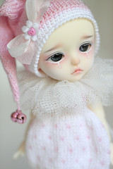 PinkieBell (Aya_27) Tags: pink people white cute bunny yellow by fur real ellery bigeyes outfit doll sad heart bell sweet unique clown special belly lea bjd lovely custom dollfie limited pierrot pompon dollie latidoll lati sadlook faceupbyandreja enchanted14mmeyes pinkiebell ellerybears