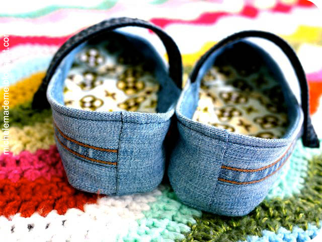 Denim slippers mary janes back