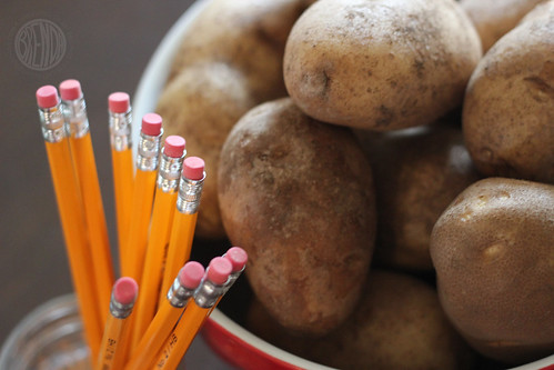 potato and pencil erasers to make stamp crafts