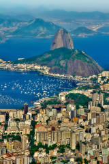 Sugarloaf mountain and Guanabara bay (daniel_gafanhoto) Tags: city blue trees light sea brazil urban mountain green art beach water rio rock brasil marina canon buildings boats concrete photography bay shark photo ship rj janeiro bresil cable brasilien sugar 7d whale loaf botafogo portuguese hdr urca brasile brsil guanabara brazili photomatix    rioin rio2016 rio2014 brasilemimagens