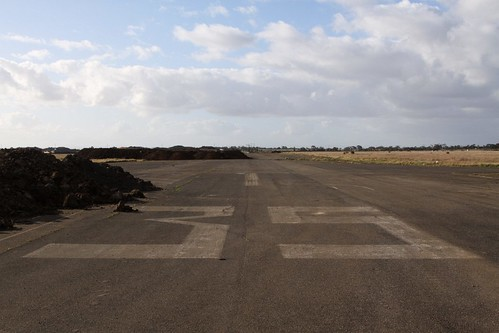 Looking down runway 35, a bit of dirt in the way