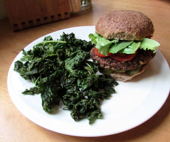 Homemade Veggie Burger and Kale Chips