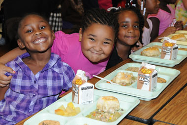 Students are happy to be back together at school  with a new chef and healthier lunches at Baker County K-12 School in Newton, Ga.