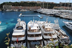 Luxury yachts in Monaco harbour (zawtowers) Tags: blue sea holiday floors boats three mediterranean harbour yacht rich super f1 monaco september carlo monte posh expensive docked formula1 luxury moored principality 2011 luxuries