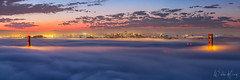 Hawk Hill Sunrise (Willie Huang Photo) Tags: sf sanfrancisco city bridge fog night sunrise landscape cityscape marin scenic goldengatebridge goldengate bayarea hawkhill