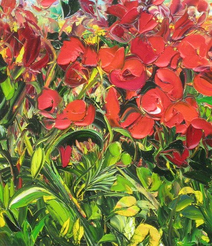Flowers in red and green - Painting - Original