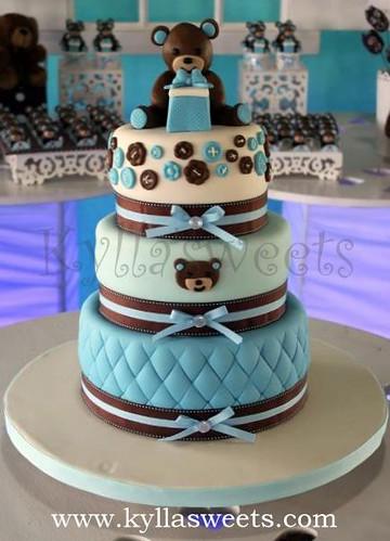 Baby Shower Teddy Bear Cake Bolo Ursinho Cha De Bebe A Photo On
