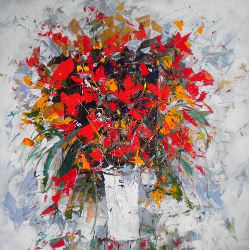 Red Flowers in Vase - Paul Ygartua