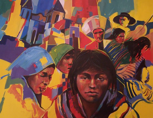 Mexican natives in colour - painting - Impressionism