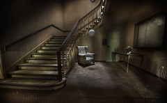 Lobby stairs :: (andre govia.) Tags: light abandoned stairs hotel chair decay main ghost andre lobby overlook derelict shining govia