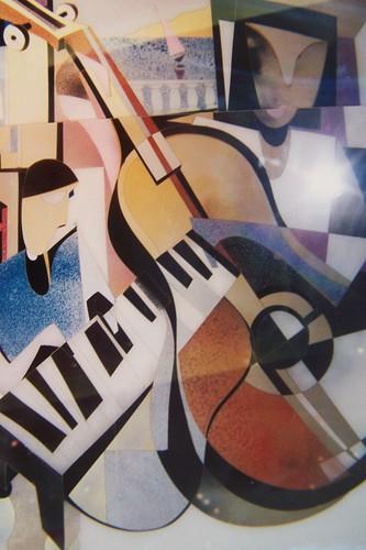 Guitar - Painting Original - Reverse drawing film