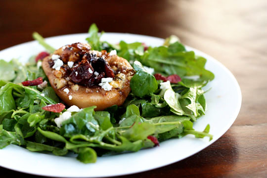 Fall Salad with Roasted Pears and Blue Cheese