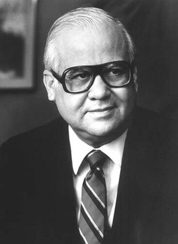 "A photo of Representative de la Garza from the Library of Congress.  During his tenure as Chairman of the Committee on Agriculture, Representative Eligio ""Kika"" de la Garza not only supported trade and promoted rural economic development, but he also led the way for the House to pass Federal reforms on pesticide laws, an overhaul of the agricultural lending system, crop insurance reform, and a major reorganization of the USDA.  De la Garza also passed three farm bills and measures that improved human nutrition."