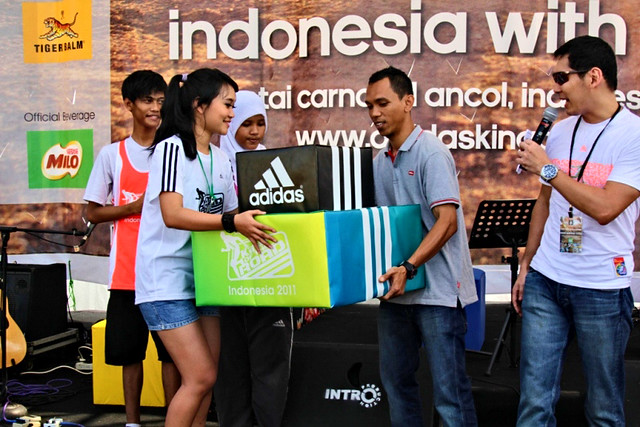YCAB receive the symbolized donation apparel from Adidas