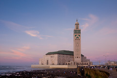 Hassan II Mosque (clee130) Tags: ocean travel blue sunset sky orange cloud sun color water colors clouds lens landscape geotagged lumix photography mar colorful skies purple cloudy mosque panasonic morocco ii getty 17 casablanca hassan pancake 20mm traveling dmc gettyimages hassanii f17 m43 gf1 mft hassaniimosque micro43 microfourthirds dmcgf1 panasonicdmcgf1 aïnessebaaroyadi geo:lat=3360537300 geo:lon=763758600