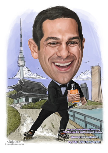 digital caricature for Pernod Ricard Korea Union
