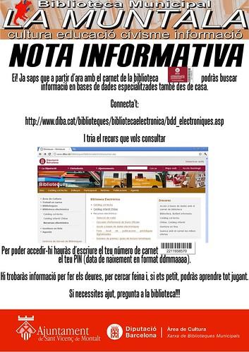 Nota informativa: biblioteca en línia by bibliotecalamuntala