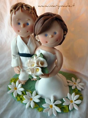 Cake Topper per Matrimonio con lo sposo cintura nera Judo