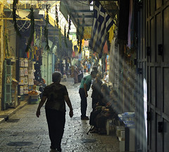 the Greek Lady (David Mor {mostly off}) Tags: lady feast alley jerusalem greece shops basil rays oldcity bluelight sunbeams flage christianquarter nikond90