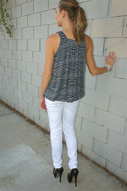 White gray and black outfit