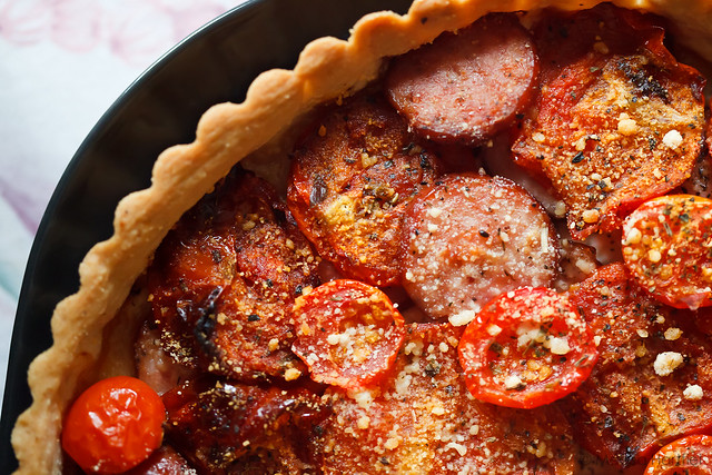 Tomato, sausage, goat cheese tart