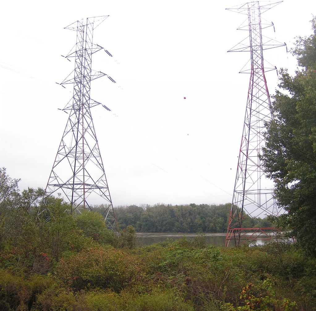 Power lines crossing the Connecticut