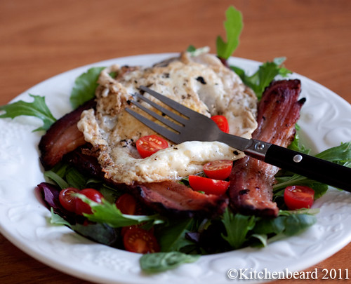 Fried Egg and Bacon Salad
