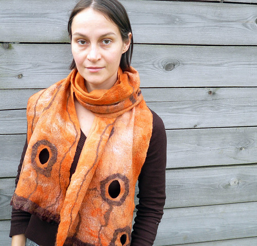 women scarf, felt, felted, wool, orange, nuno-felting