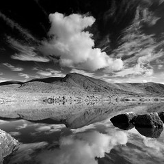 Isknaghiny (Ian Humes) Tags: ireland summer blackandwhite water clouds rural landscape geotagged blackwhite biancoenero blackdiamond blancinegre countykerry explored noireblanc canon50d loughisknaghiny