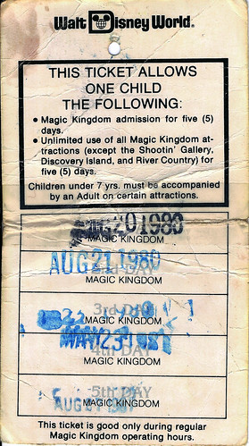 WDW 5-day child pass 1979 back