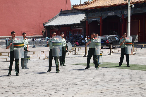 Chinese police training in Tianamen Square